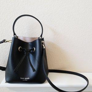 New Kate Spade black leather 2 way bucket bag